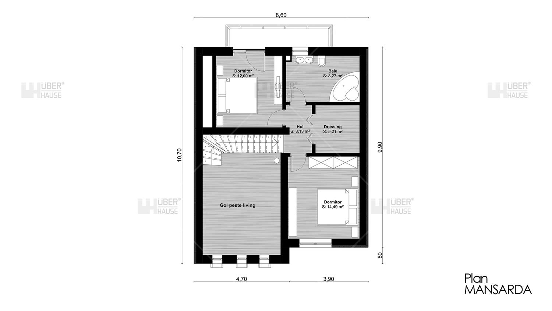 Casa parter + mansarda (111 mp) – Muralis