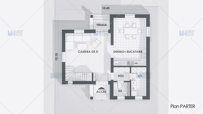 Proiect casa parter + etaj (120 mp) – Zenia